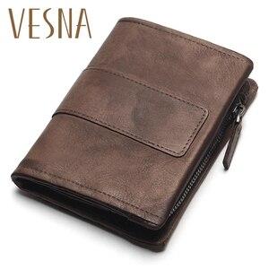 Image 1 - TAUREN 새로운 짧은 지갑 여성용 동전 지갑 남성용 동전 지갑 정품 가죽 레이디 지퍼 디자인 동전 지갑 포켓 짧은 Walet