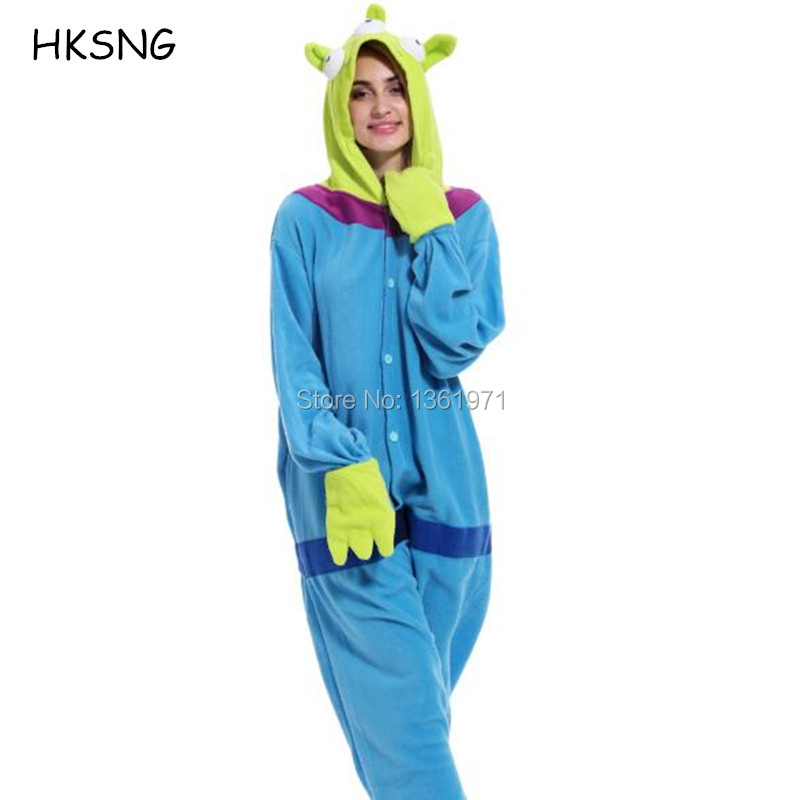HKSNG  Adult Winter Warm Cartoon Animal Alien Sangan Kigurumi Pajamas Onesie Cosplay For Men And Women Party