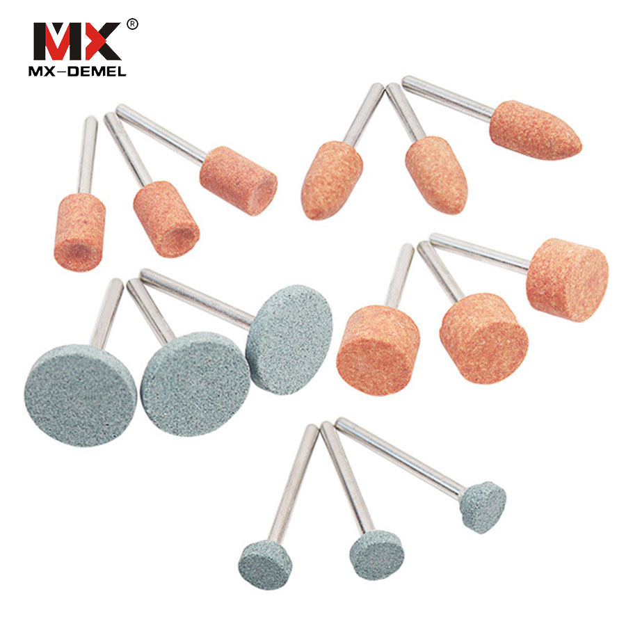 10pcs Mixed Shape Abrasive Stone Point Grinding Head Wheel Polishing Burr Bits