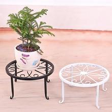Creative 24x24x13cm Indoor Outdoor Plant Stand Metal Flowerpot Stand Round Iron Plant Pot Holder Black White Bronze Colour