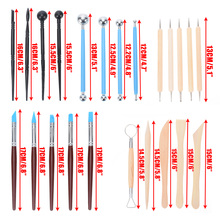 24PCs Polymer Pottery Clay Sculpting Modelling Sit Ball Stylus Nail Art Dotting Tools Rubber Tipped Ceramic Carving Kit For DIY