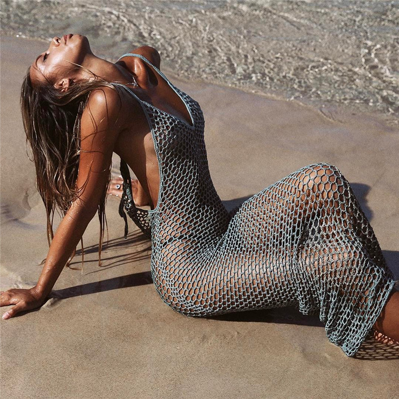 2019 Women Knitted Fishnet Bikinis Cover Up Beach Dress Tunic Long Hollow Out Beach Wear Pareo Sexy Crochet Cover-ups Swimsuit