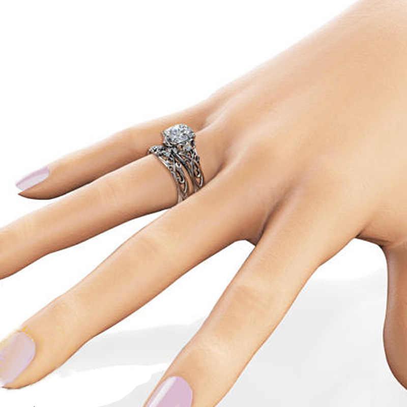 2 pcs Anel para Mulheres Anéis de Noivado Conjunto Duplo Mulher Cubic Zirconia Senhoras Partido Amante Casal Anéis de Casamento de Prata 925 jóias