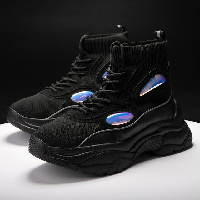 Yeni Trend Erkek Spor Ayakkabı Kalın Taban Platformu koşu ayakkabıları için Erkek Yüksekliği Artan 6 CM Tıknaz Rahat Nefes Açık Ayakkabı