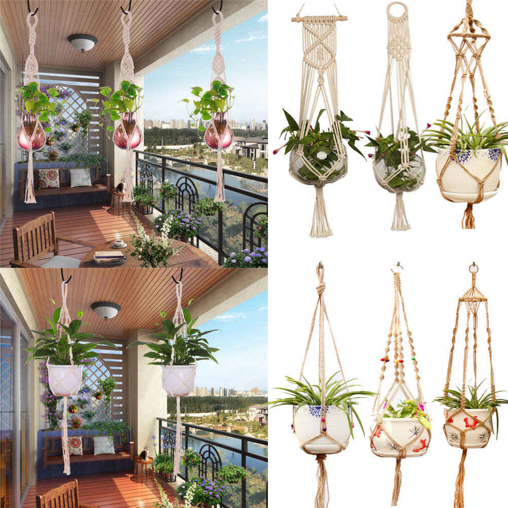 Hot Sale Hanging Baskets Macrame Plant Hanger Flower Pot Holder Hanger Wall Decoration Countyard Garden Jute Rope Braided Craft