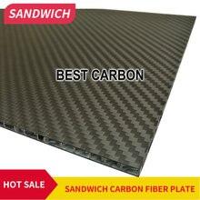 200 мм x 300 мм x 5 мм, 300 мм x 300 мм x 5 мм 3K саржевая матовая углеродная сотовая панель, сэндвич-пластина из углеродного волокна