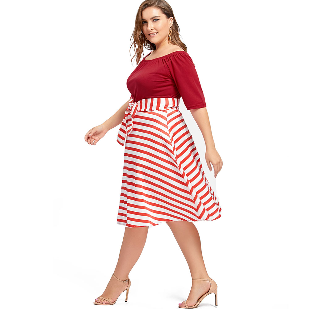 e575924becb Wipalo Plus Size Christmas Party Stripe Knee Length Dress High Waist  Vintage Ball Gown Dress Happy