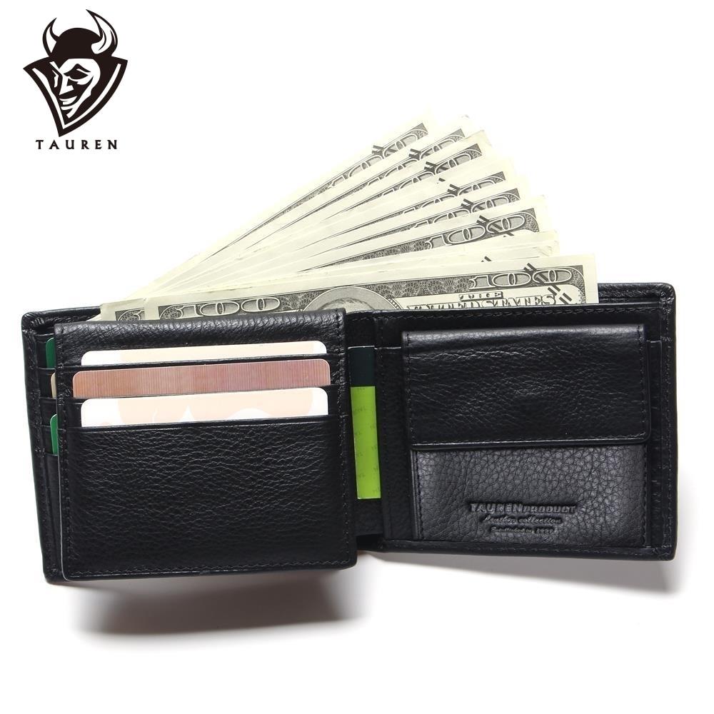 Meeste rahakoti edendamine Suurepärane tõeline lehmade nahk must Office Man Meeste Vintage rahakottidele
