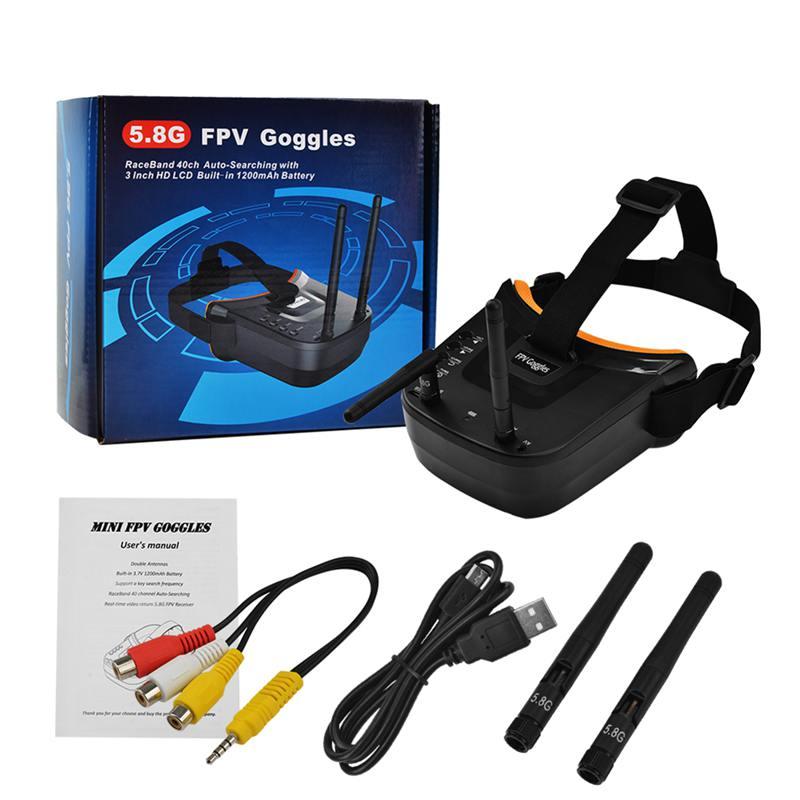 Mini fpv óculos de proteção 3 polegadas, 480x320 display duplo antena receptora 5.8g 40ch com bateria para rc fpv drone quadricóptero de corrida