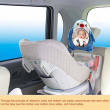 Adjustable Baby Car Back Seat Mirror Kid Safe View Cartoon Penguin Headrest Mount For Baby Kids Rear Facing Mirrors
