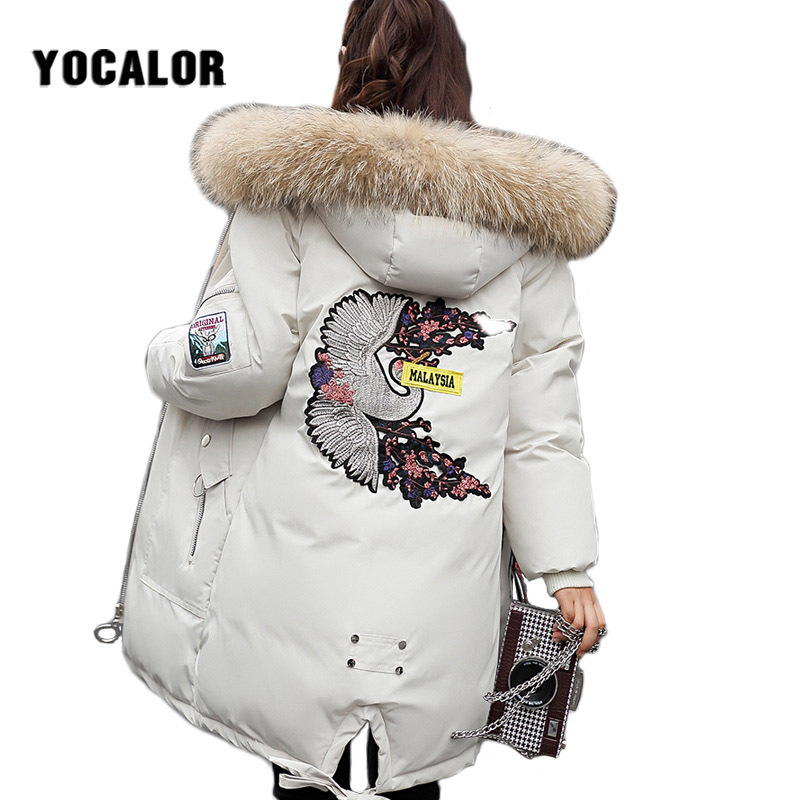 Large Sizes Embroidered Winter Long Coat Warm Quilted Jacket Women Thick   Parka   Outerwear For Snow Wear Raccoon Fur Hood Overcoat