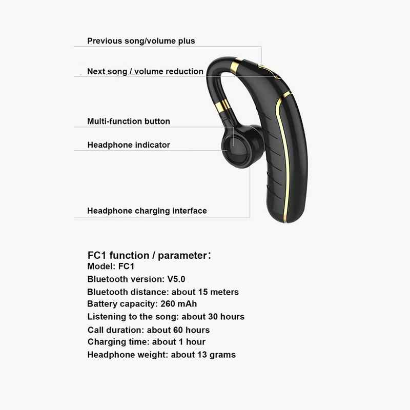 FC1 Bluetooth Headset 5 0 Caller ID Name Large Battery Long Standby Hanging  Earphones Wireless Charging Stereo Sports Headphone