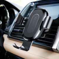 Car Wireless Charger Holder Charging Air Vent Car Mobile Phone Mount Stand Gravity Car Mount for iPhone X For Samsung Black
