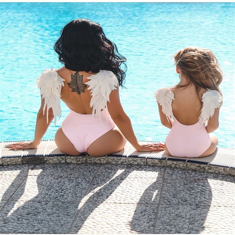 Mother Daughter Swimsuits Feather Applique Mommy And Me Swimwear Family Matching Clothes Family Look Mom Daughter Bathing Suit(China)