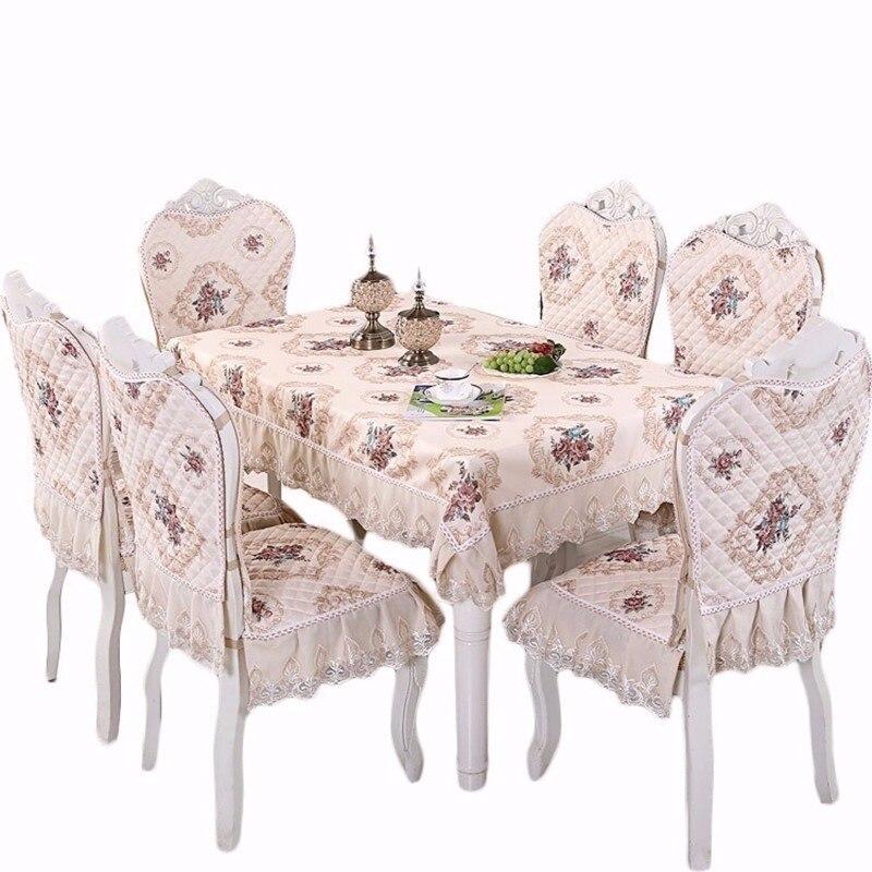 Europa de luxo mesa pano cetim rendas cadeira capa almofada conjunto casa decoração do casamento hotel festa banquete toalha de mesa