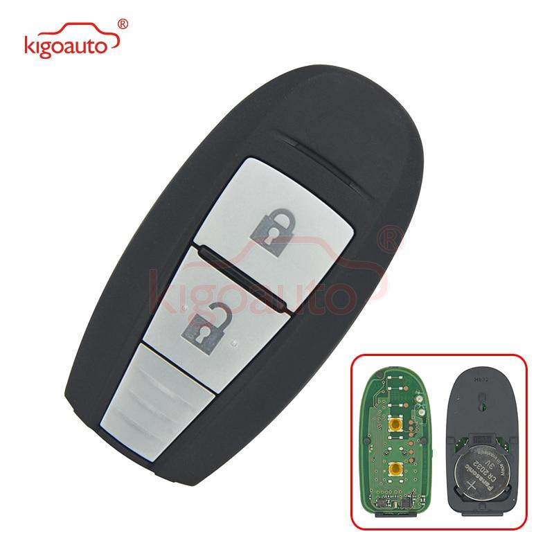 Kigoauto 2 bouton OEM clé de voiture à distance clé de carte à puce Fob 433 MHZ avec 47 puce lame non coupée pour Suzuki Swift SX4 Vitara