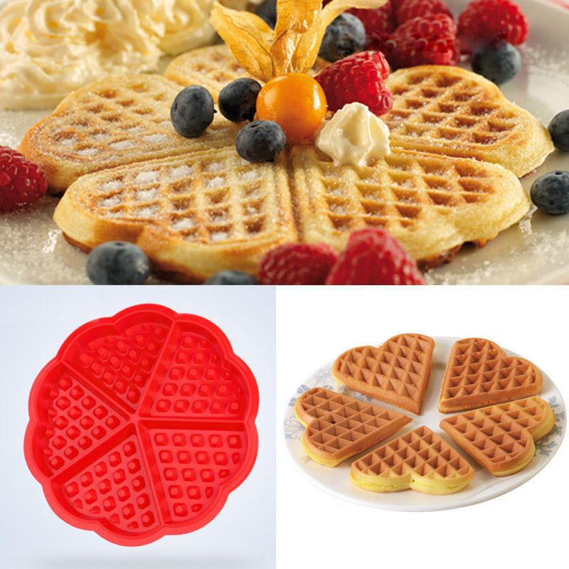 New 1Pc Creative Non-stick Food Grade Silicone Waffle Mold Kitchen Bakeware Cake Mould Makers For Roaster Cake Decorating Tools