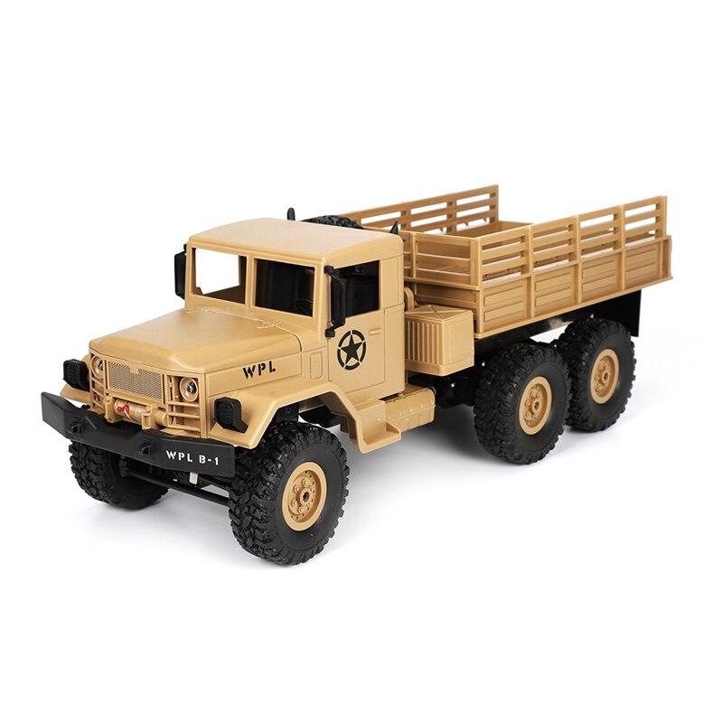 MAISON-2018 Nouveau WPL B-16 1/16 2.4g 4WD Hors Route RC Militaire Camion Rock Crawler Voiture De L'armée jaune