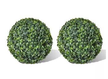VidaXL 2 pièces boule de buis 35 Cm Set boule topiaire feuille artificielle décoration de maison utilisation jardin extérieur résistant aux intempéries