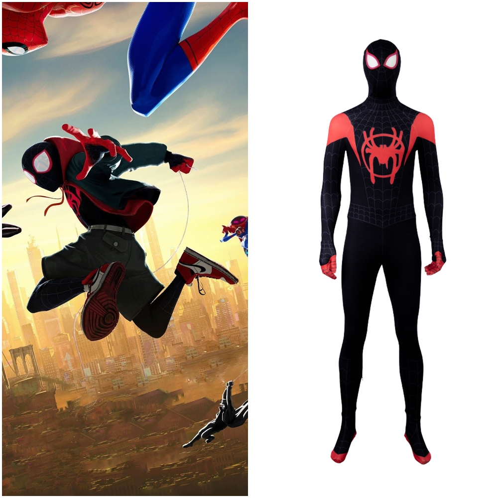 New Spider Man: Into the Spider Verse Miles Morales Cosplay Costume Outfit 3D Printed