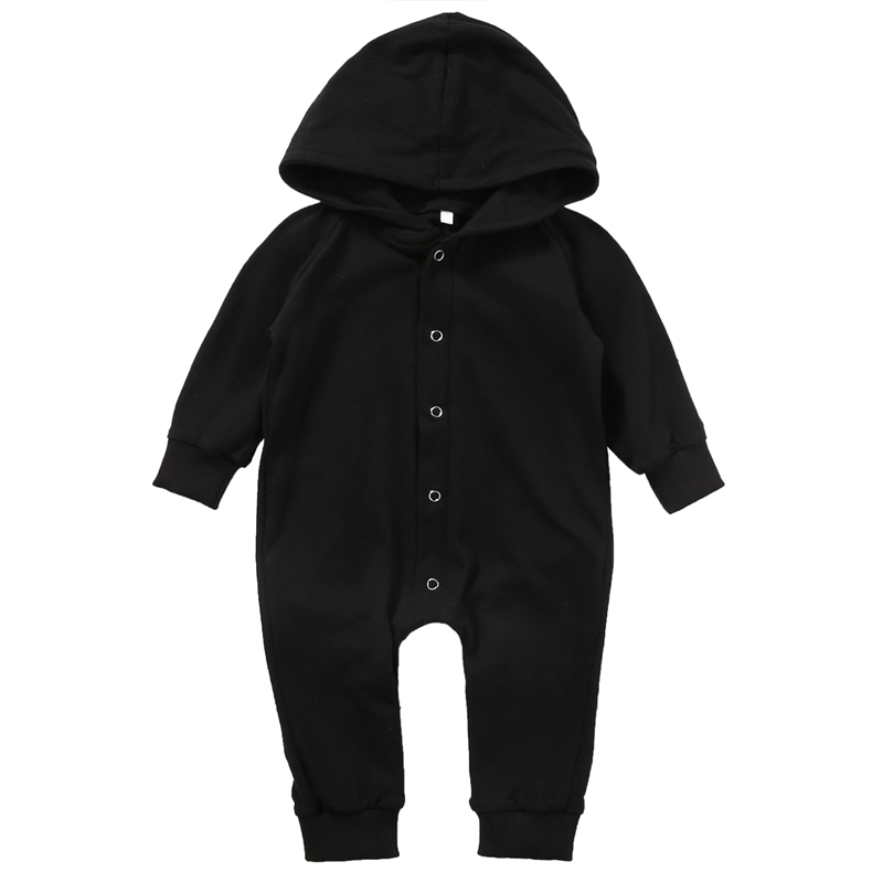 Toddler Infant Newborn Baby Boy Clothing   Romper   Long Sleeve Hooded Black Jumpsuit Playsuit Babe Kids Boys Clothes Outfits   Romper