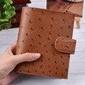 100% cuero genuino planificador A7 tamaño de hoja suelta anillos portátil Mini del organizador del Programa de piel de vaca de diario cuaderno de bolsillo grande