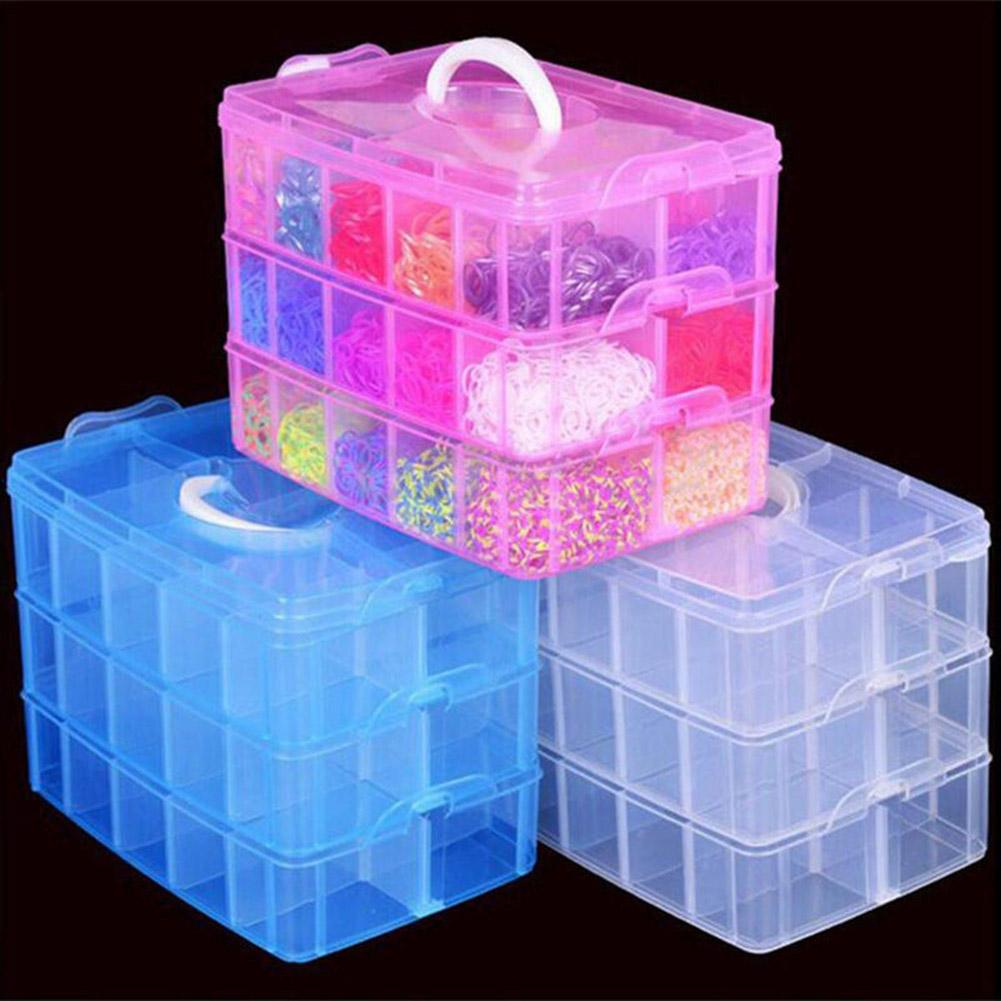 Layer Detachable Jewelry Bead Container Organizer Case with Handle Lid Plastic Transparent Storage Box Three