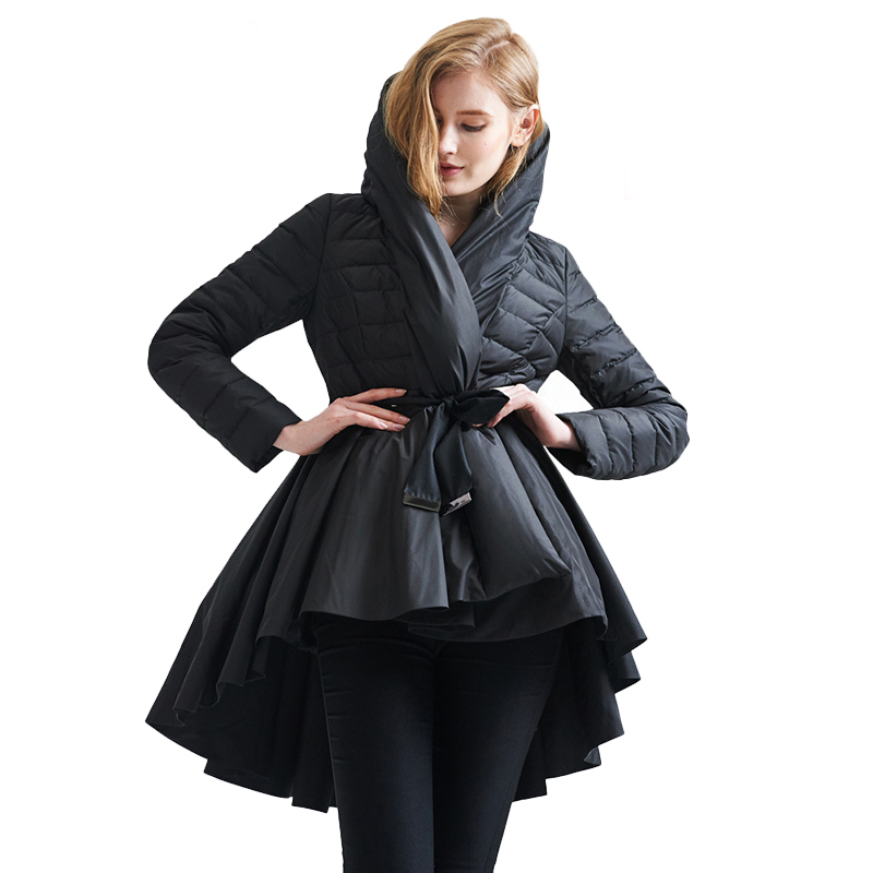 LANMREM Personality Fashion New Dovetail Hemline Parkas Jackets Women Black White Irregular Winter Women's Coat With Belt YA108