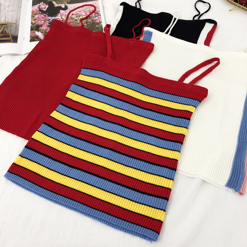 Summer Women Slim Knitting   Tank     Tops   Camises Girls Knitted Striped Simple Knitwear Camisole Sleeveless Sweater Tee shirts Camis