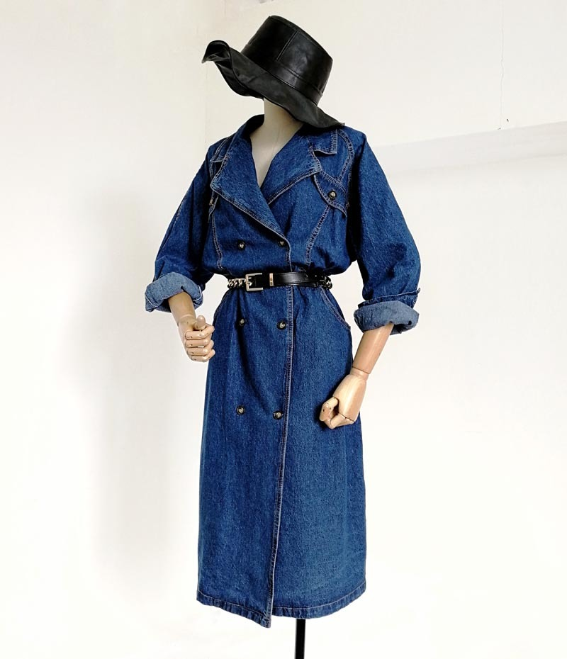Bleu À Boutonnage Lâche Boucle Manteau Femme Longues Double Automne Vintage Denim Manches Mode Slim Tranchée Marée De Taille wx0nCTfq