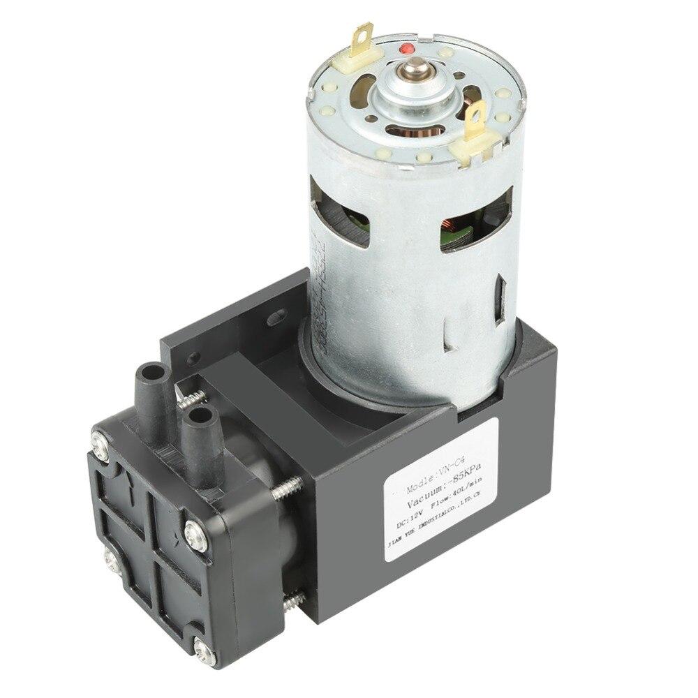 Новый маленький безмасляный вакуумный мини-насос, 12 В постоянного тока, 42 Вт, 1 шт., 85 кПа, 40 л/мин (это щеточный двигатель с поршнем)