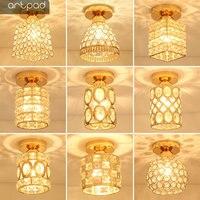 Artpad Modern LED Crystal Ceiling Light for Entrance Corridor Balcony Aisle Decor Surface Mount Square Round Gold Ceiling Lamp