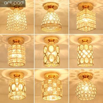 Artpad Modern LED Crystal Ceiling Light for Entrance Corridor Balcony Aisle Decor Surface Mount Square Round Gold Ceiling Lamp 1