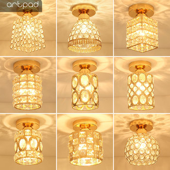 Artpad Modern LED Crystal Ceiling Light for Entrance Corridor Balcony Aisle Decor Surface Mount Square Round Gold Ceiling Lamp modern round crystal fish line single head ceiling lamp club shop corridor entrance hall door chandelier for bedroom livingroom