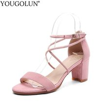 5e51436a98d YOUGOLUN Women Ankle Strap Sandals Genuine Leather New Summer Ladies Open  Toe high Heels Sexy Woman