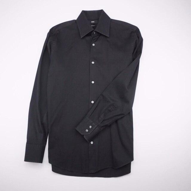564aa82a HUGO BOSS Button Front Dress Shirt Long Sleeve Black Mens 15 32/33 ...