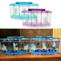 1 комплект 3L 28*10*15 см фиолетовый/синий из бусин и жемчужин с аксессуарами маленькая рыба ребенок мини аквариум разделения тент коробка для ра...