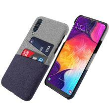 For Samsung Galaxy A50 Case Slim Splicing Card Holder Retro Woven Fabric Cloth Hard PC Back Cover 2019