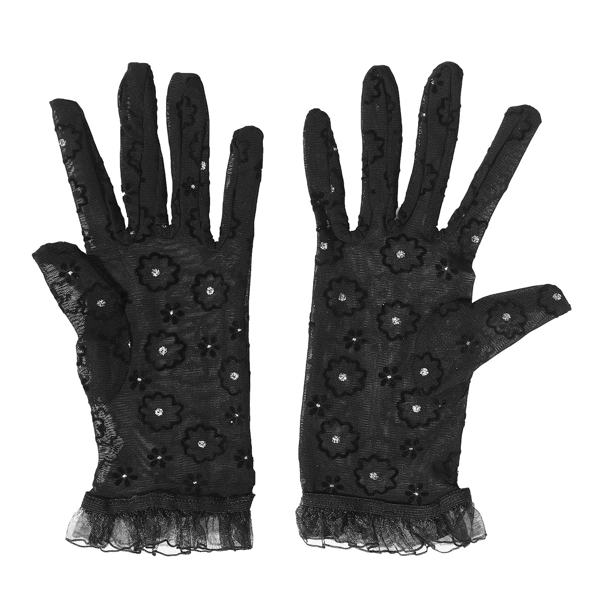 1 Paar Frauen Kurze Braut Handschuhe Schwarz Elastische Mesh Hand Handschuhe Für Hochzeit Abend Party Abendessen