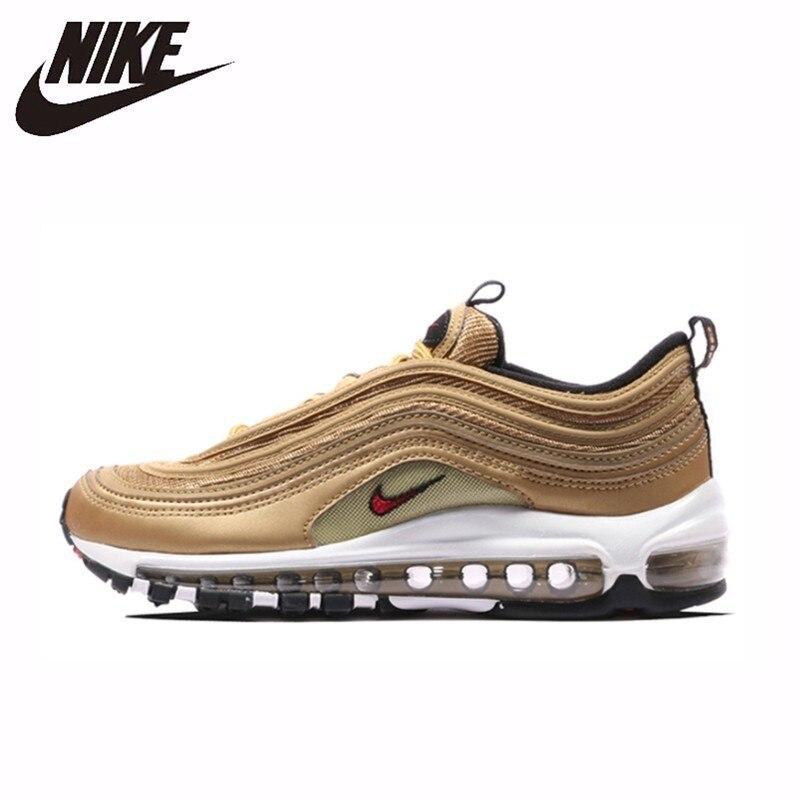 Nike Air Max 97 Og Qs chaussures de course respirantes hommes or et argent balle confortable baskets #884421Nike Air Max 97 Og Qs chaussures de course respirantes hommes or et argent balle confortable baskets #884421