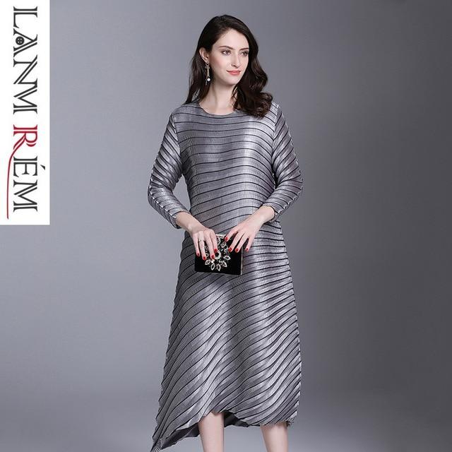 LANMREM 2019 spring New Fashion Pleats Three Quarter Sleeve Irregular Dress Female's Loose Elastic Women Clothing Vestido YE852 1