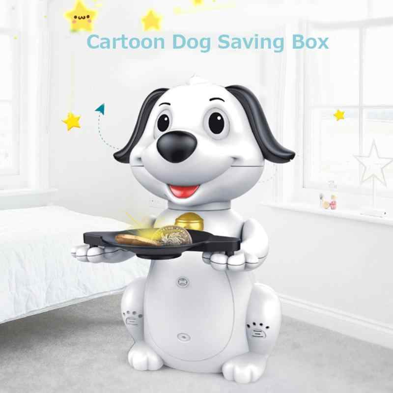 1pcs Cartoon Dog Electric Automatic Music Money Box Coin Piggy Bank Money Saving Box Safe Box Children Gift Home Decoration