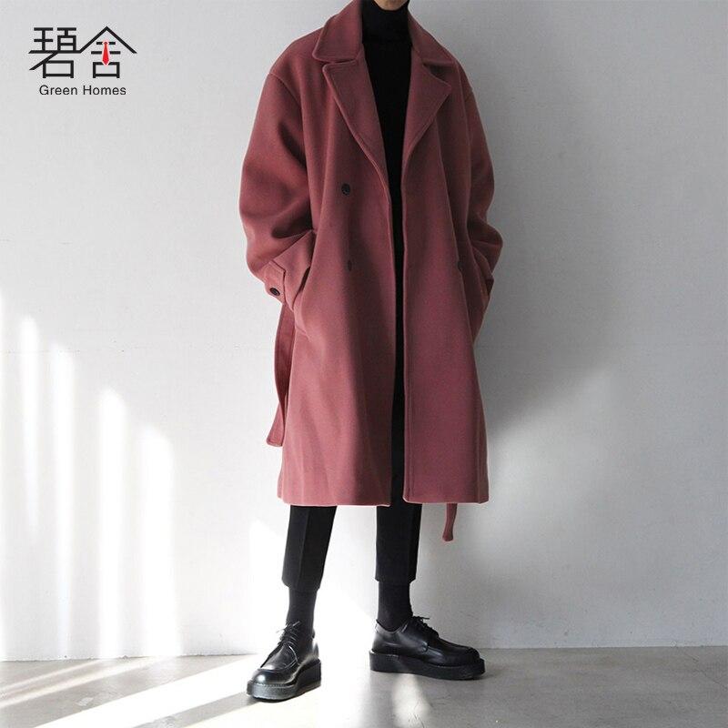 79bb486961813 Invierno Juventud Moda De Abrigo Lana Ocio Largo La Nuevo Hombres Black  pink Edición Los Casual ...