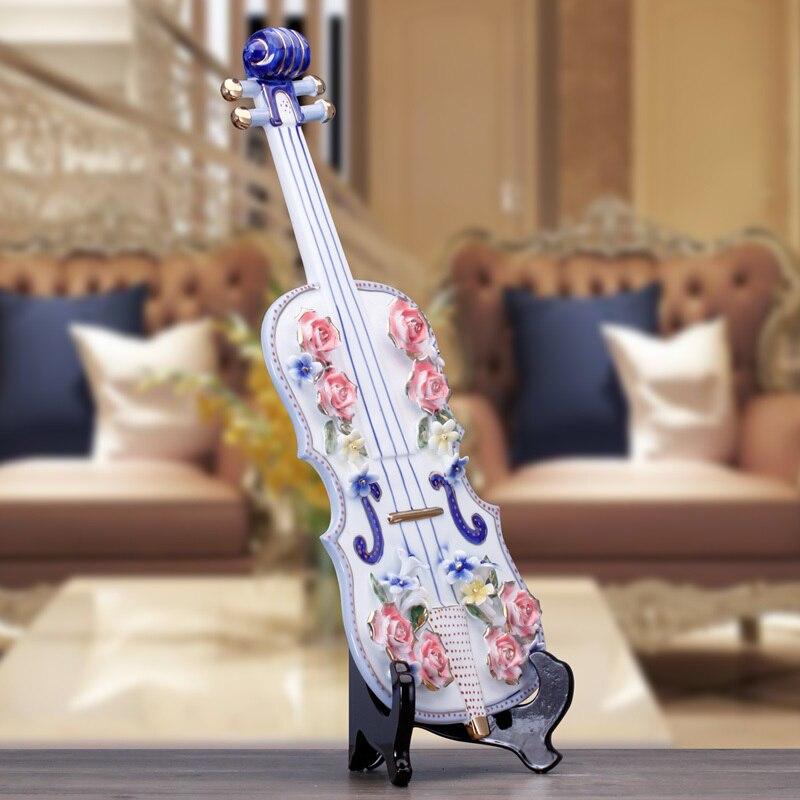 Artisanat créatif mariage violon guitare Lute en céramique décor à la maison artisanat chambre décoration en céramique ornement porcelaine Figurines - 5