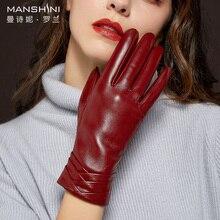 Genuine Leather Glove sheepskin gloves winter add velvet thick warm touch screen telefingers woman MLZ034
