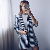 Fashion 2018 Autumn Women Striped Notched Blazer Three Quarter Sleeve Work Blazers Outerwear Casual Jackets