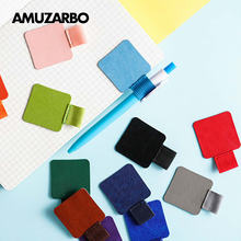 Self-adhesive Leather Pen Clip Pencil Elastic Loop for Notebooks Journals Clipboards Holder