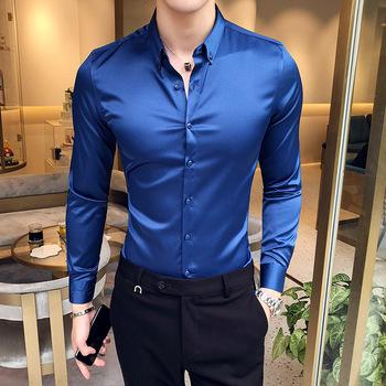 2019 moda lato jednolity kolor długi rękaw koszula mężczyźni satynowa tkanina klub nocny bar fryzjer wysokiej klasy business casual koszula wieczorowa tanie i dobre opinie Uyuk SILK Rayon Tuxedo koszule Pełna Plac collar Pojedyncze piersi REGULAR A206 -1 a6011 68 Satin Formalne Stałe M L XL 2XL 3XL 4XL 5XL