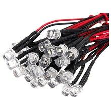 20 CM 12 V Kablolu ışık yayan diyot Kablolama Lot Boyutu: 5mm Düz Üst Renk: beyaz ADET: 10 Adet