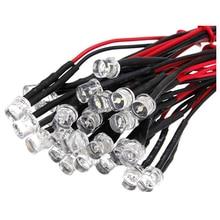 20 CM 12 V Wired עבור אור פולטות דיודה חיווט LED הרבה גודל: 5mm שטוח למעלה צבע: לבן כמות: 10 Pcs